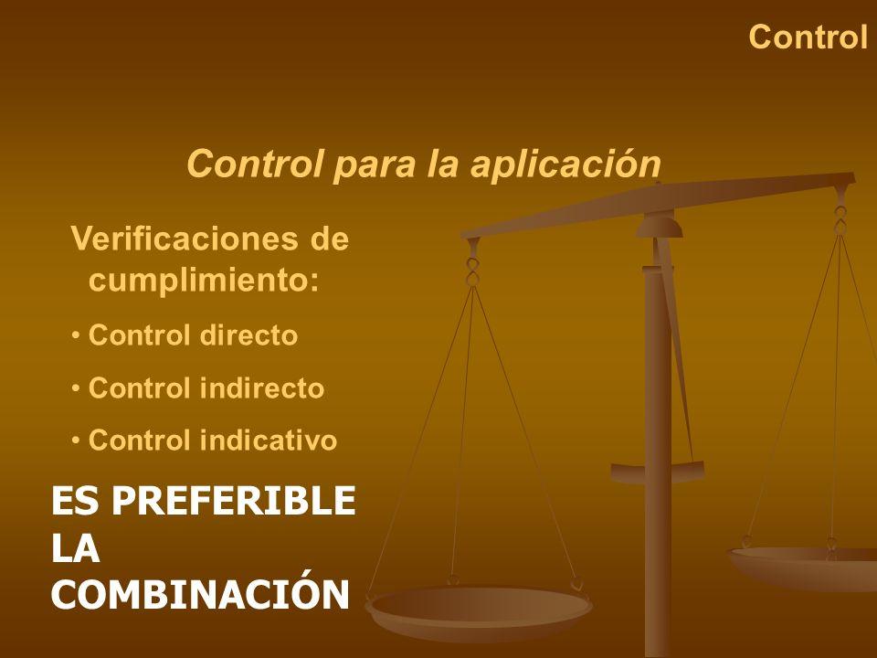 Control para la aplicación Control Verificaciones de cumplimiento: Control directo Control indirecto Control indicativo ES PREFERIBLE LA COMBINACIÓN