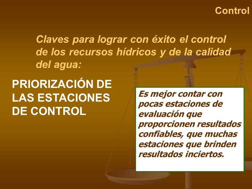 Claves para lograr con éxito el control de los recursos hídricos y de la calidad del agua: Control PRIORIZACIÓN DE LAS ESTACIONES DE CONTROL Es mejor