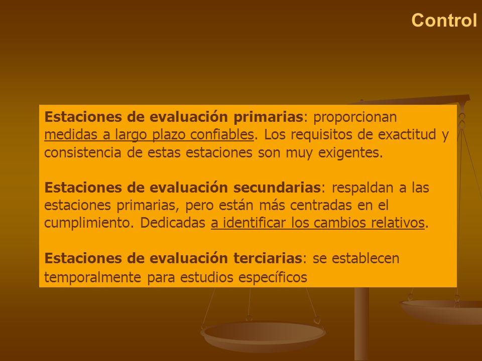 Control Estaciones de evaluación primarias: proporcionan medidas a largo plazo confiables. Los requisitos de exactitud y consistencia de estas estacio