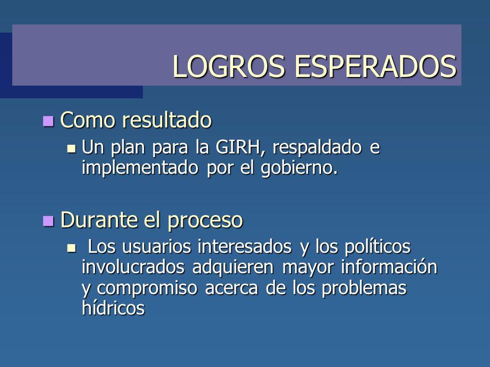 LOGROS ESPERADOS Como resultado Como resultado Un plan para la GIRH, respaldado e implementado por el gobierno. Un plan para la GIRH, respaldado e imp