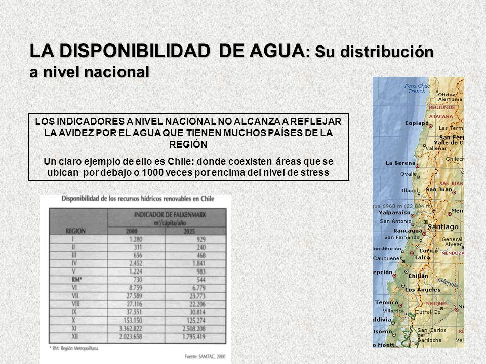 LA DISPONIBILIDAD DE AGUA : Su distribución a nivel nacional LOS INDICADORES A NIVEL NACIONAL NO ALCANZA A REFLEJAR LA AVIDEZ POR EL AGUA QUE TIENEN M