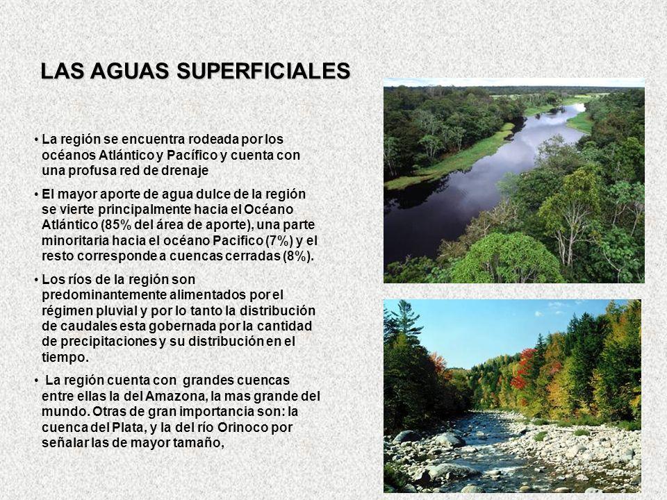 LAS AGUAS SUPERFICIALES La región se encuentra rodeada por los océanos Atlántico y Pacífico y cuenta con una profusa red de drenaje El mayor aporte de