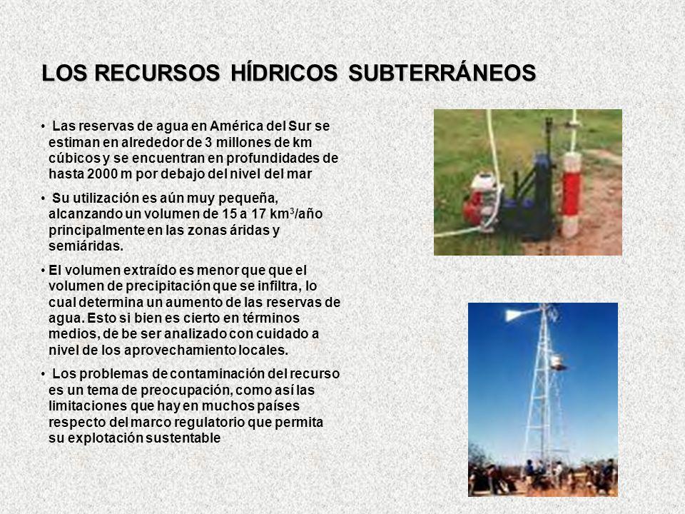 LOS RECURSOS HÍDRICOS SUBTERRÁNEOS Las reservas de agua en América del Sur se estiman en alrededor de 3 millones de km cúbicos y se encuentran en prof