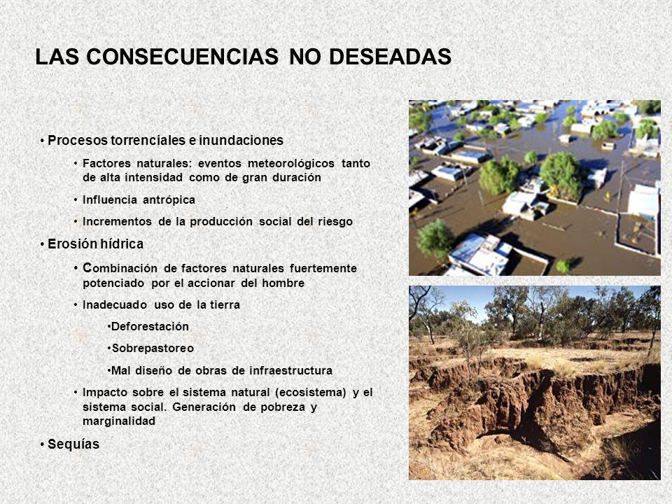 Procesos torrenciales e inundaciones Factores naturales: eventos meteorológicos tanto de alta intensidad como de gran duración Influencia antrópica In