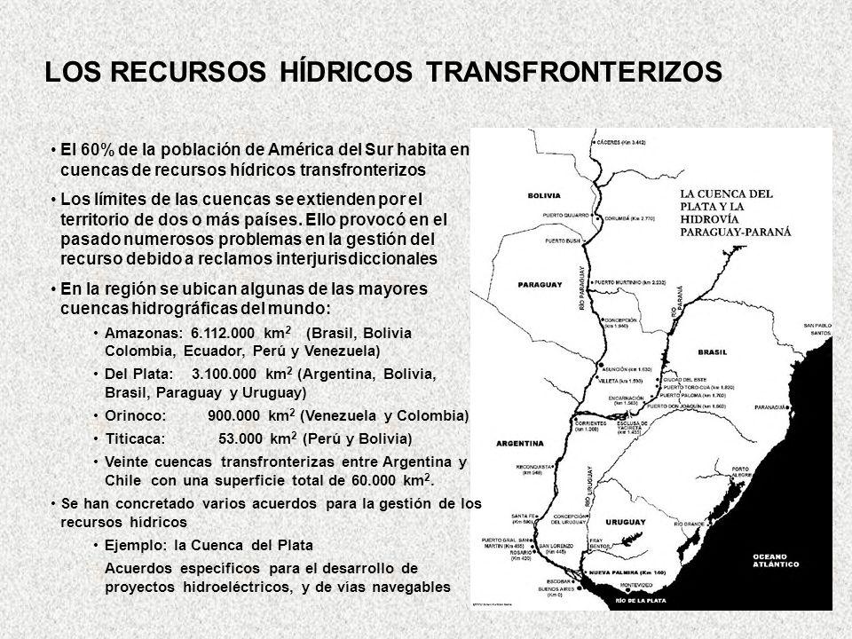 El 60% de la población de América del Sur habita en cuencas de recursos hídricos transfronterizos Los límites de las cuencas se extienden por el terri