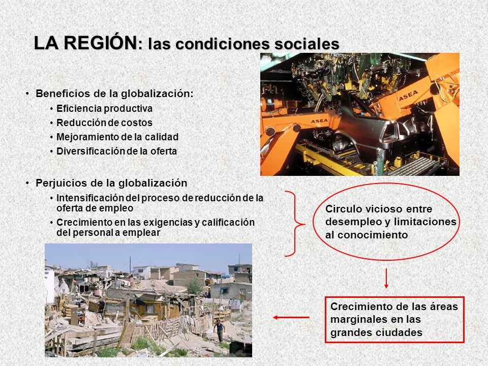 LA REGIÓN : las condiciones sociales Beneficios de la globalización: Eficiencia productiva Reducción de costos Mejoramiento de la calidad Diversificac