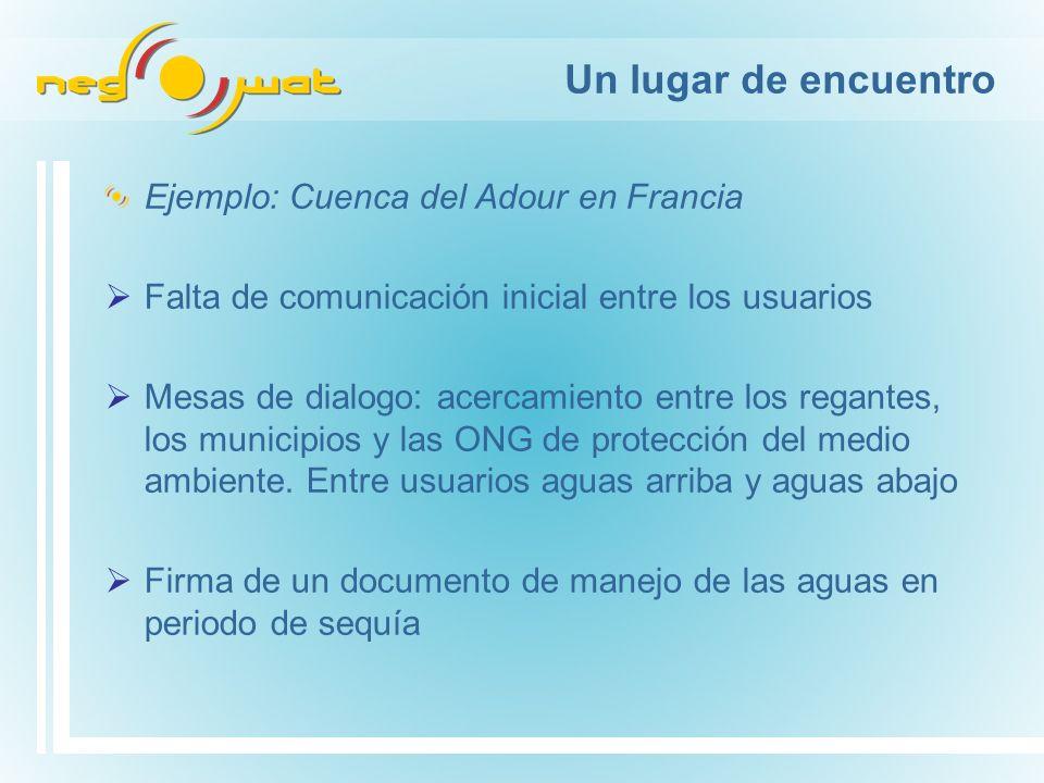Un lugar de encuentro Ejemplo: Cuenca del Adour en Francia Falta de comunicación inicial entre los usuarios Mesas de dialogo: acercamiento entre los regantes, los municipios y las ONG de protección del medio ambiente.