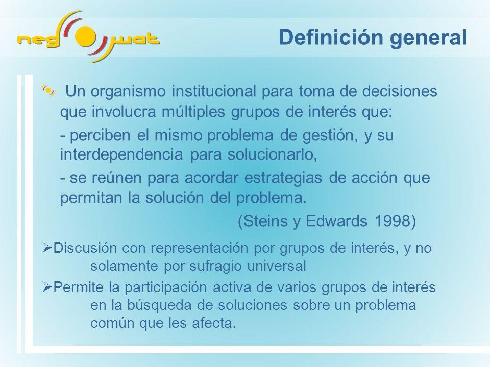 Definición general Un organismo institucional para toma de decisiones que involucra múltiples grupos de interés que: - perciben el mismo problema de gestión, y su interdependencia para solucionarlo, - se reúnen para acordar estrategias de acción que permitan la solución del problema.