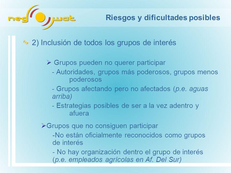 Riesgos y dificultades posibles 2) Inclusión de todos los grupos de interés Grupos pueden no querer participar - Autoridades, grupos más poderosos, grupos menos poderosos - Grupos afectando pero no afectados (p.e.