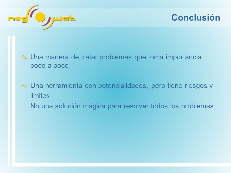 Una manera de tratar problemas que toma importancia poco a poco Una herramienta con potencialidades, pero tiene riesgos y limites No una solución mágica para resolver todos los problemas