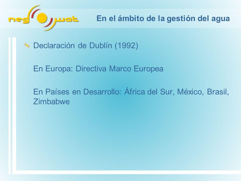En el ámbito de la gestión del agua Declaración de Dublín (1992) En Europa: Directiva Marco Europea En Países en Desarrollo: África del Sur, México, Brasil, Zimbabwe