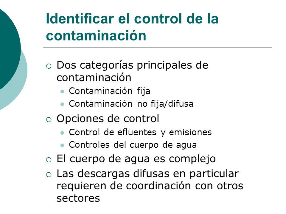 Identificar el control de la contaminación Dos categorías principales de contaminación Contaminación fija Contaminación no fija/difusa Opciones de con