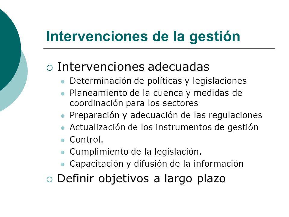 Intervenciones de la gestión Intervenciones adecuadas Determinación de políticas y legislaciones Planeamiento de la cuenca y medidas de coordinación p