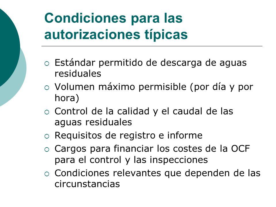 Condiciones para las autorizaciones típicas Estándar permitido de descarga de aguas residuales Volumen máximo permisible (por día y por hora) Control