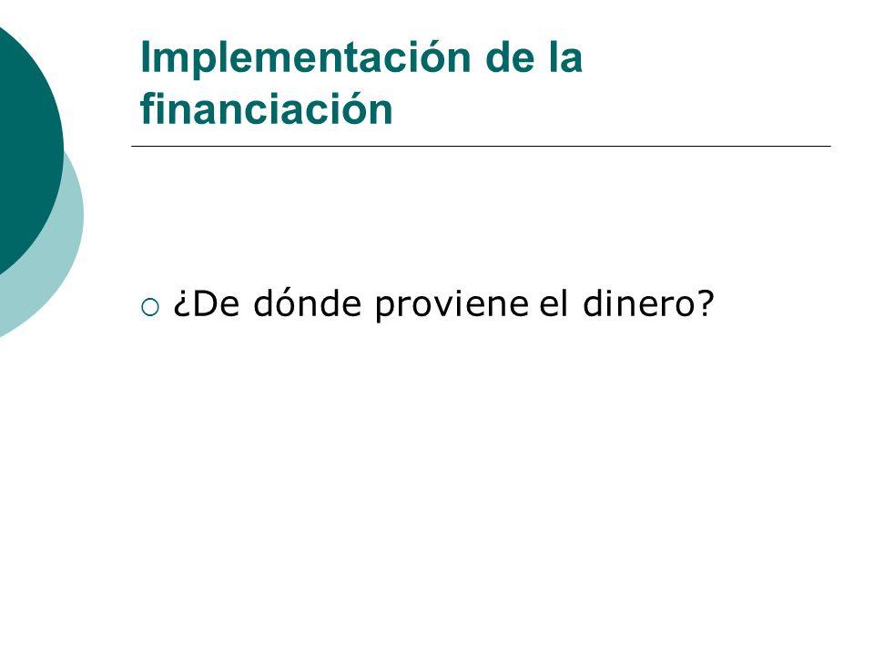 Implementación de la financiación ¿De dónde proviene el dinero?