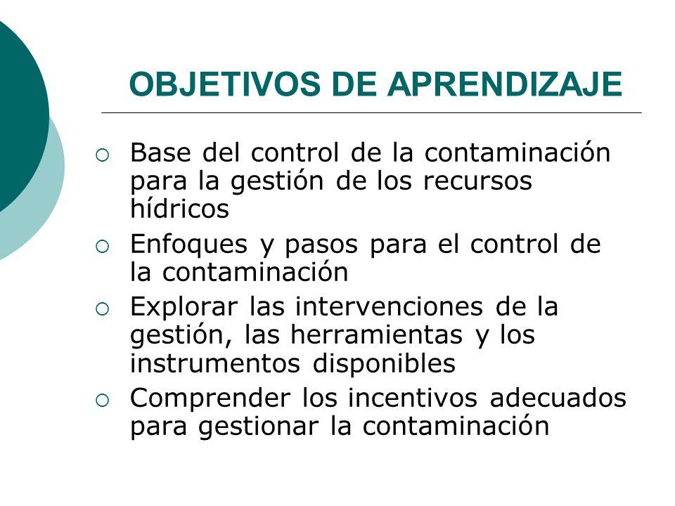 OBJETIVOS DE APRENDIZAJE Base del control de la contaminación para la gestión de los recursos hídricos Enfoques y pasos para el control de la contamin