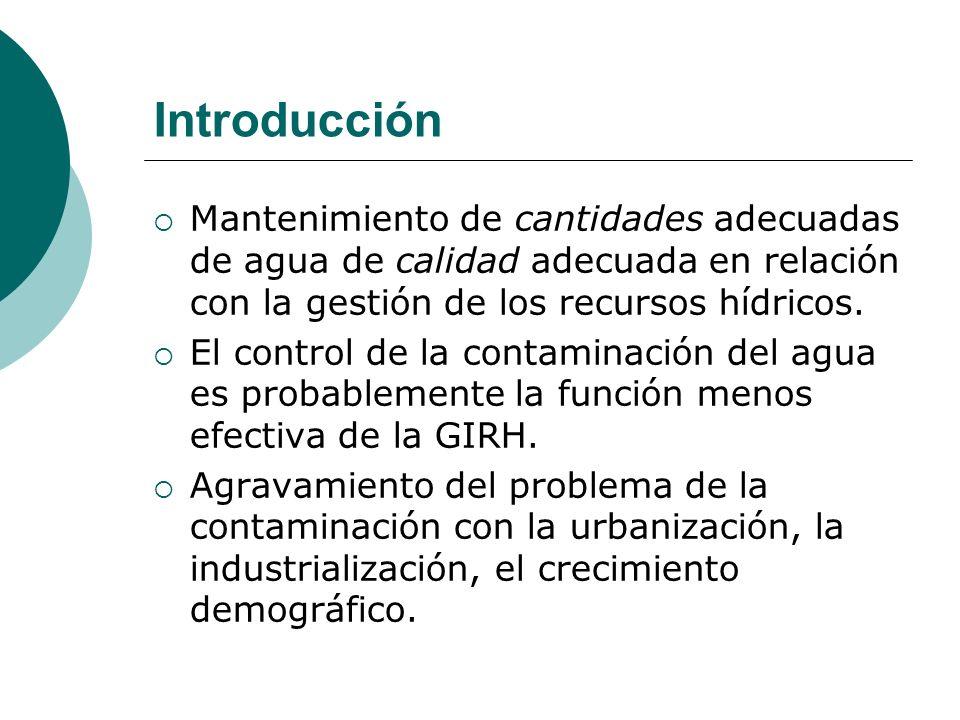 Introducción Mantenimiento de cantidades adecuadas de agua de calidad adecuada en relación con la gestión de los recursos hídricos. El control de la c