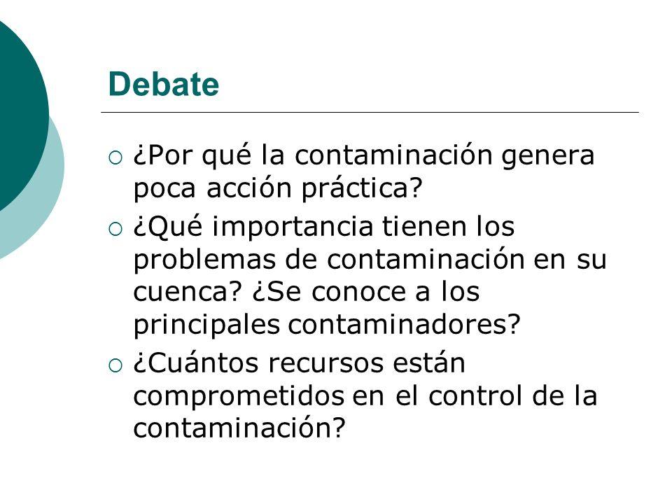 Debate ¿Por qué la contaminación genera poca acción práctica? ¿Qué importancia tienen los problemas de contaminación en su cuenca? ¿Se conoce a los pr