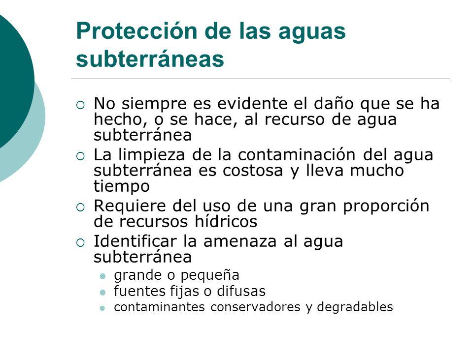 Protección de las aguas subterráneas No siempre es evidente el daño que se ha hecho, o se hace, al recurso de agua subterránea La limpieza de la conta
