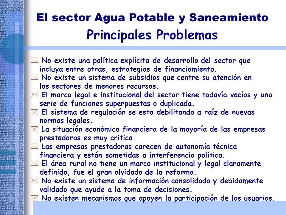 El sector Agua Potable y Saneamiento Principales Problemas * No existe una política explícita de desarrollo del sector que incluya entre otras, estrat