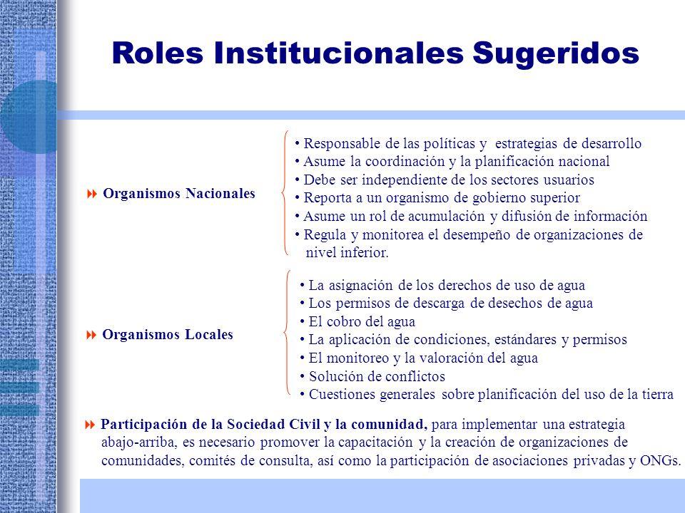 Roles Institucionales Sugeridos Organismos Nacionales Responsable de las políticas y estrategias de desarrollo Asume la coordinación y la planificació