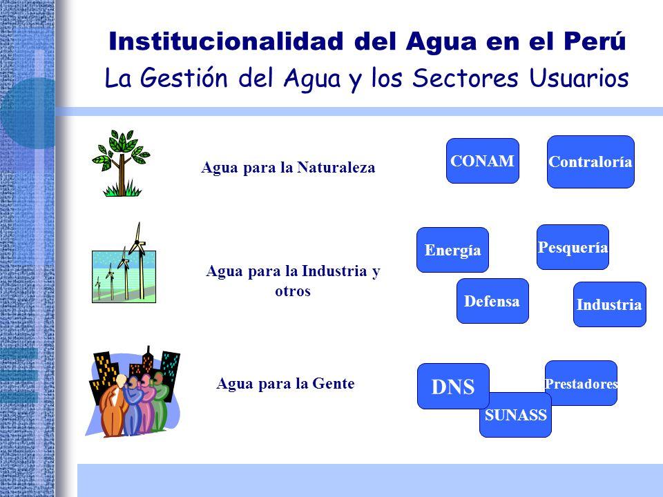 Institucionalidad del Agua en el Perú La Gestión del Agua y los Sectores Usuarios Agua para la Naturaleza CONAM Contraloría Agua para la Industria y o