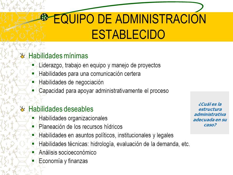 EQUIPO DE ADMINISTRACION ESTABLECIDO Habilidades mínimas Liderazgo, trabajo en equipo y manejo de proyectos Habilidades para una comunicación certera