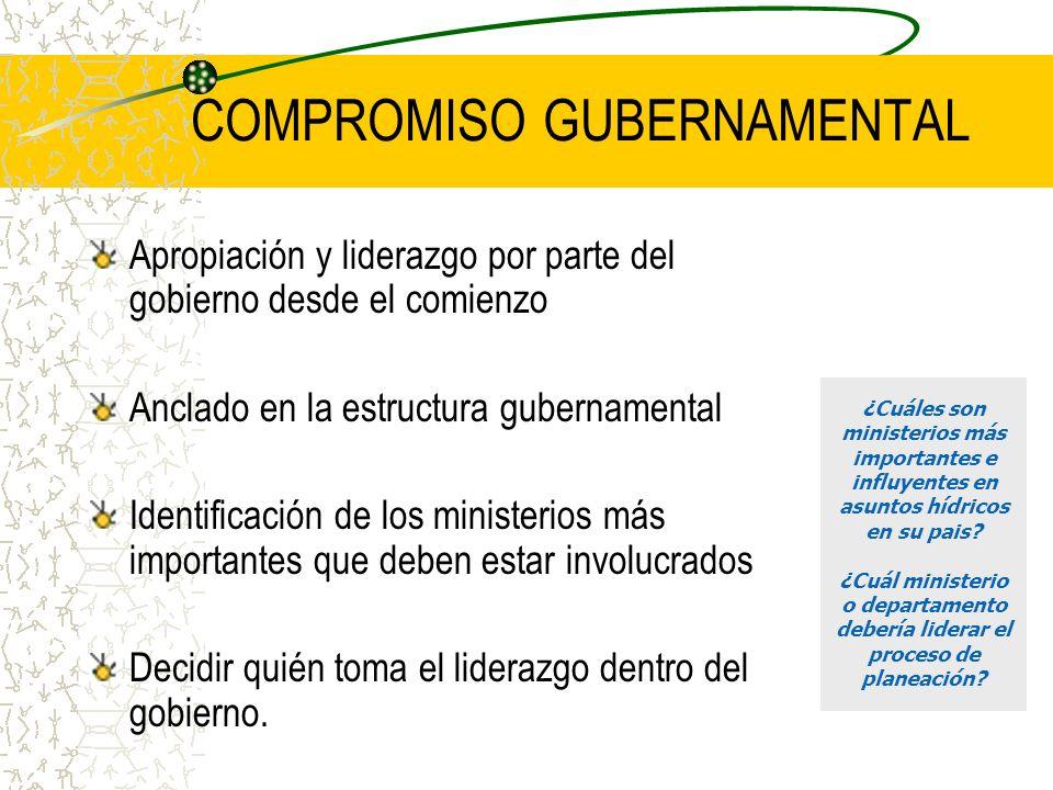 COMPROMISO GUBERNAMENTAL Apropiación y liderazgo por parte del gobierno desde el comienzo Anclado en la estructura gubernamental Identificación de los