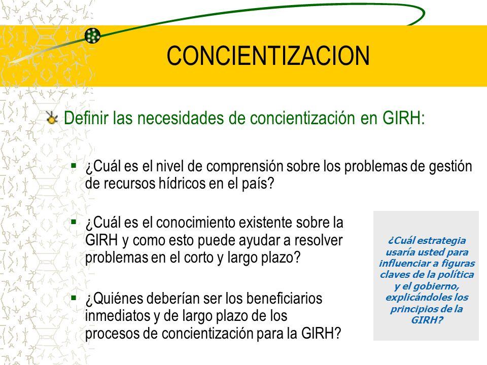 CONCIENTIZACION Definir las necesidades de concientización en GIRH: ¿Cuál es el nivel de comprensión sobre los problemas de gestión de recursos hídricos en el país.