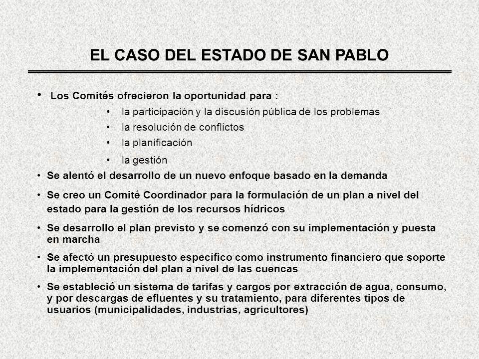 EL CASO DEL ESTADO DE SAN PABLO Los Comités ofrecieron la oportunidad para : la participación y la discusión pública de los problemas la resolución de