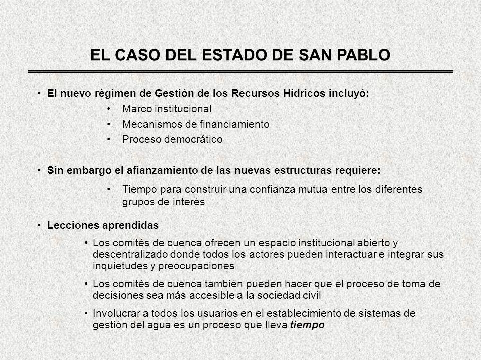 EL CASO DEL ESTADO DE SAN PABLO El nuevo régimen de Gestión de los Recursos Hídricos incluyó: Marco institucional Mecanismos de financiamiento Proceso