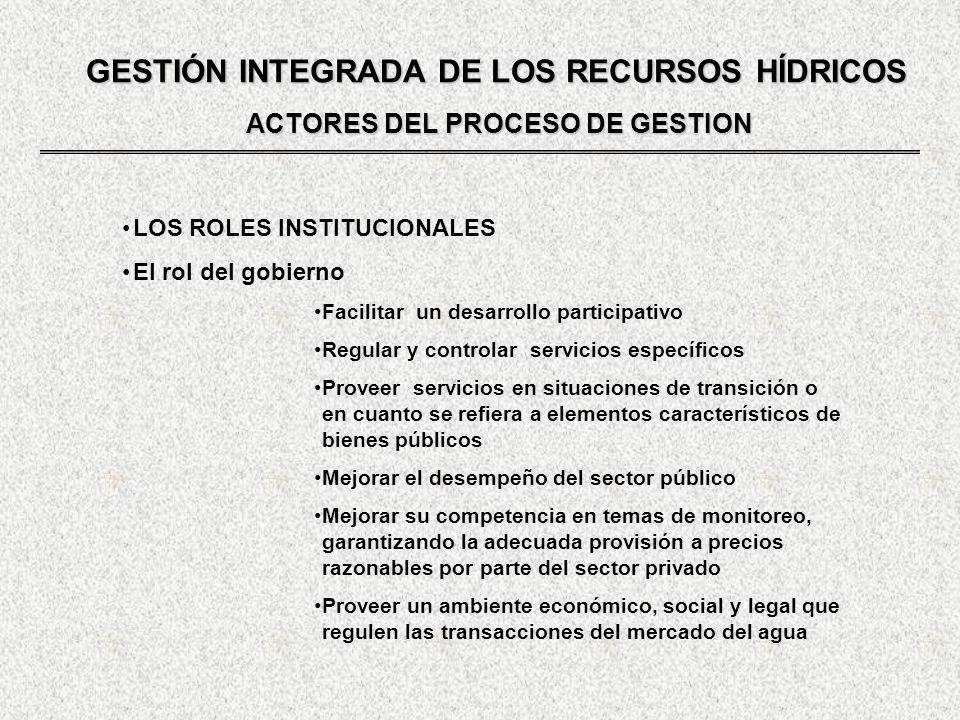GESTIÓN INTEGRADA DE LOS RECURSOS HÍDRICOS ACTORES DEL PROCESO DE GESTION LOS ROLES INSTITUCIONALES El rol del gobierno Facilitar un desarrollo partic