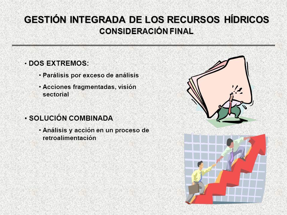 GESTIÓN INTEGRADA DE LOS RECURSOS HÍDRICOS CONSIDERACIÓN FINAL DOS EXTREMOS: Parálisis por exceso de análisis Acciones fragmentadas, visión sectorial