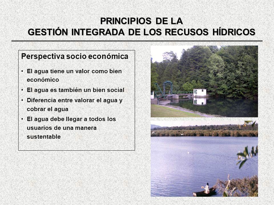 PRINCIPIOS DE LA GESTIÓN INTEGRADA DE LOS RECUSOS HÍDRICOS Perspectiva socio económica El agua tiene un valor como bien económico El agua es también u