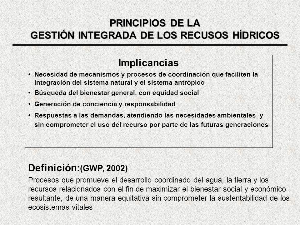 GESTIÓN INTEGRADA DE LOS RECURSOS HÍDRICOS GESTIÓN INTEGRADA DE LOS RECURSOS HÍDRICOS REQUERIMIENTOS DE LEGISLACIÓN Que se base en una política nacional que se oponga a las divisiones sectoriales y de intereses Que garantice los derechos en el uso del agua, permitiendo la inversión privada y la participación en el manejo Que controle el acceso monopólico al agua y a los servicios que se prestan, previniendo el daño a terceros Que promueva un balance entre el desarrollo del recurso con propósitos económicos y la protección de la calidad del agua y de los ecosistemas Que garantice que las decisiones de desarrollo estén basadas en evaluaciones económicas, medio ambientales y sociales coherentes Que procure el empleo de herramientas económicas modernas y participativas donde y cuando sean necesarias Legislación: sostenida en el tiempo, aspectos generales - derechos y obligaciones Regulaciones y estatutos: dinámicos, cambiantes en virtud de las circunstancias