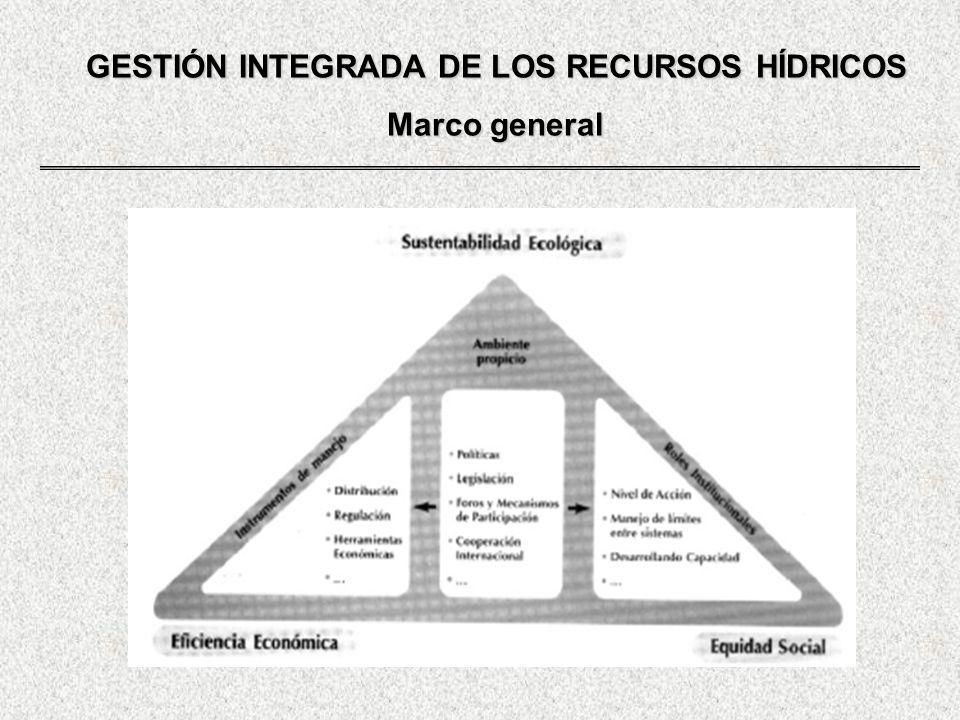GESTIÓN INTEGRADA DE LOS RECURSOS HÍDRICOS Componentes de la gestión POLITICA HÍDRICA PLANIFICACIÓN HÍDRICA GERENCIAMIENTO - MARCO NORMATIVO GESTIÓN HIDRICA POLITICA HÍDRICA: Establece directrices generales MODELO DE GESTIÓN: Establece la organización legal y administrativa SISTEMA DE GESTIÓN: Articula instituciones y aplica instrumentos legales y metodológicos para preparar y ejecutar el planeamiento