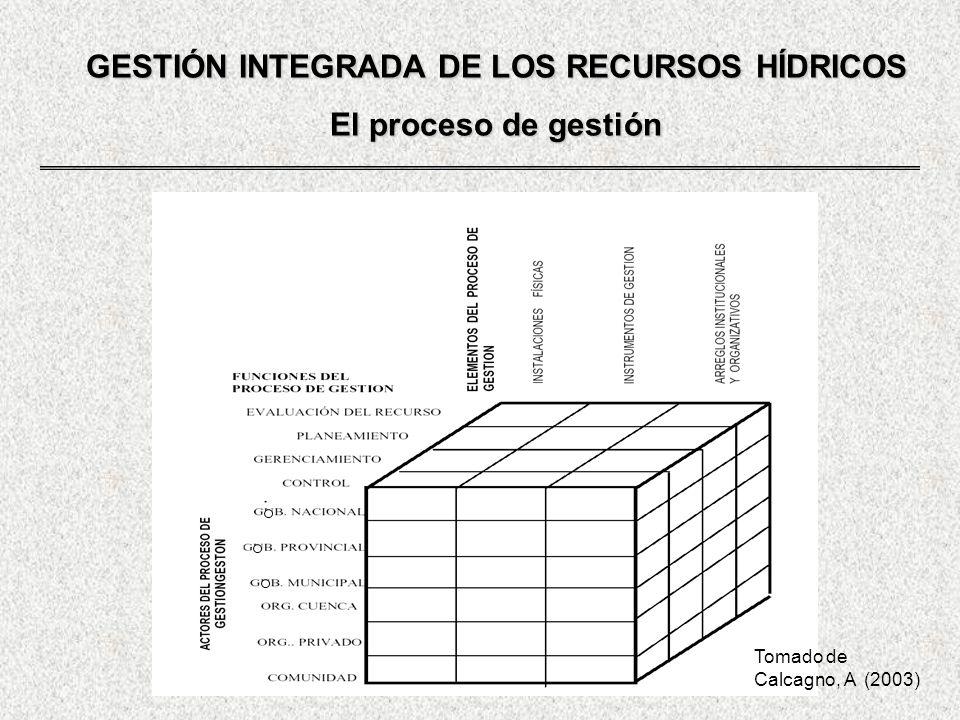 GESTIÓN INTEGRADA DE LOS RECURSOS HÍDRICOS El proceso de gestión Tomado de Calcagno, A (2003)