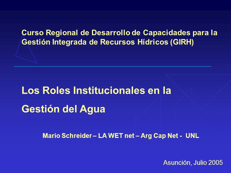 Mario Schreider – LA WET net – Arg Cap Net - UNL Curso Regional de Desarrollo de Capacidades para la Gestión Integrada de Recursos Hídricos (GIRH) Los Roles Institucionales en la Gestión del Agua Asunción, Julio 2005