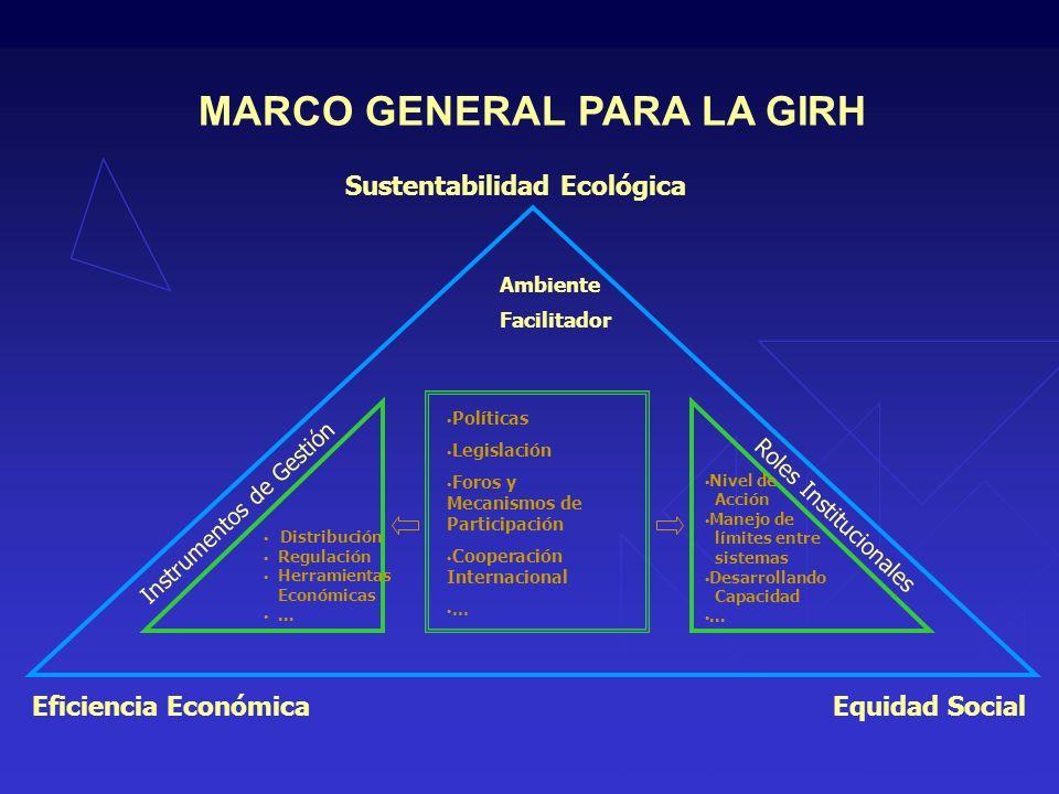 Eficiencia Económica Sustentabilidad Ecológica Equidad Social Políticas Legislación Foros y Mecanismos de Participación Cooperación Internacional...