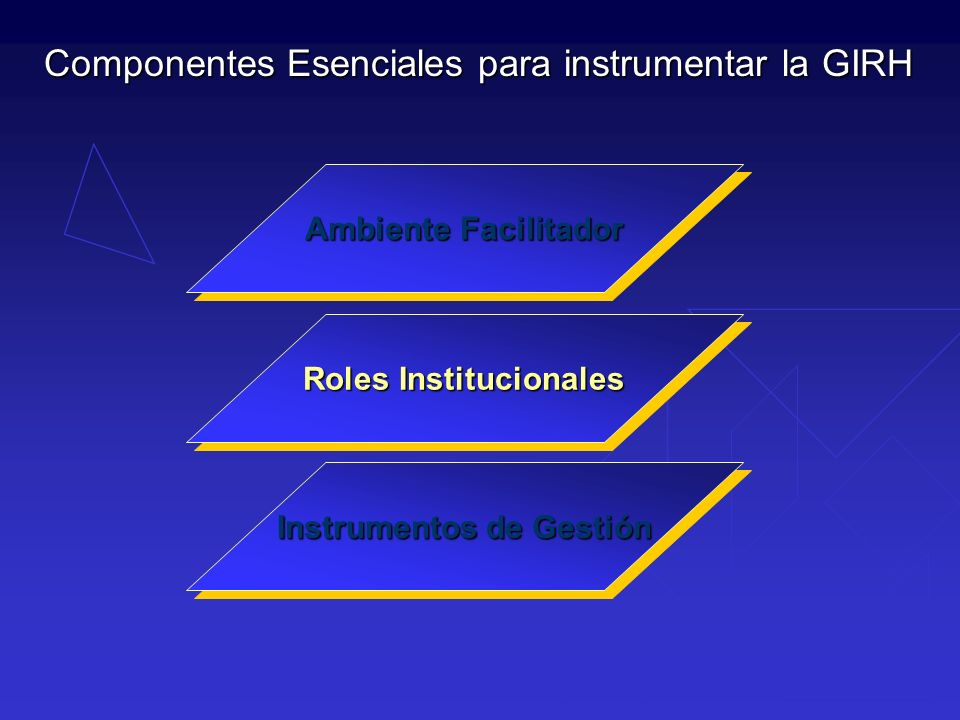 Ambiente Facilitador Roles Institucionales Instrumentos de Gestión Componentes Esenciales para instrumentar la GIRH