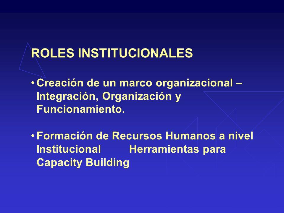 ROLES INSTITUCIONALES Creación de un marco organizacional – Integración, Organización y Funcionamiento.
