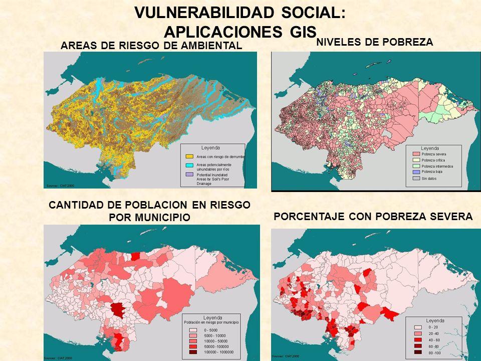 AREAS DE RIESGO DE AMBIENTAL CANTIDAD DE POBLACION EN RIESGO POR MUNICIPIO NIVELES DE POBREZA PORCENTAJE CON POBREZA SEVERA VULNERABILIDAD SOCIAL: APL