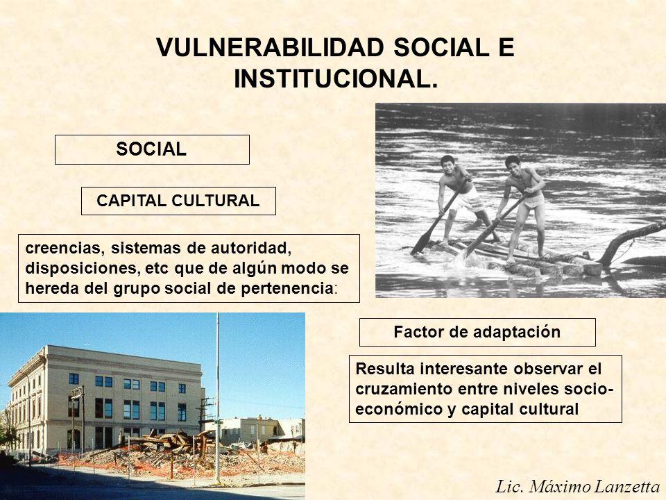 VULNERABILIDAD SOCIAL E INSTITUCIONAL. SOCIAL CAPITAL CULTURAL Lic. Máximo Lanzetta creencias, sistemas de autoridad, disposiciones, etc que de algún