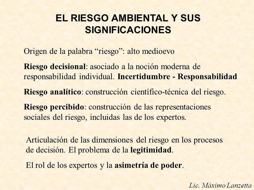 EL RIESGO AMBIENTAL Y SUS SIGNIFICACIONES Origen de la palabra riesgo: alto medioevo Riesgo decisional: asociado a la noción moderna de responsabilida