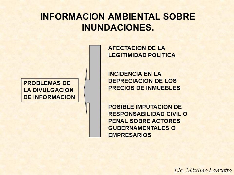 INFORMACION AMBIENTAL SOBRE INUNDACIONES. PROBLEMAS DE LA DIVULGACION DE INFORMACION AFECTACION DE LA LEGITIMIDAD POLITICA INCIDENCIA EN LA DEPRECIACI
