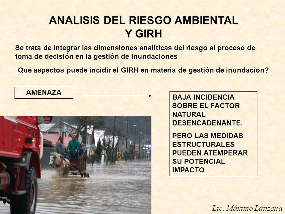 ANALISIS DEL RIESGO AMBIENTAL Y GIRH Lic. Máximo Lanzetta Se trata de integrar las dimensiones analíticas del riesgo al proceso de toma de decisión en