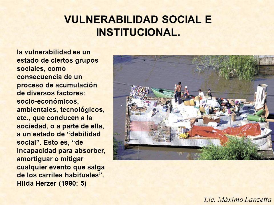 VULNERABILIDAD SOCIAL E INSTITUCIONAL. la vulnerabilidad es un estado de ciertos grupos sociales, como consecuencia de un proceso de acumulación de di