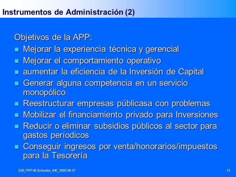 S20_PPP-M.Schouten_IHE_2003-06-2713 Instrumentos de Administración (2) Objetivos de la APP: n Mejorar la experiencia técnica y gerencial n Mejorar el