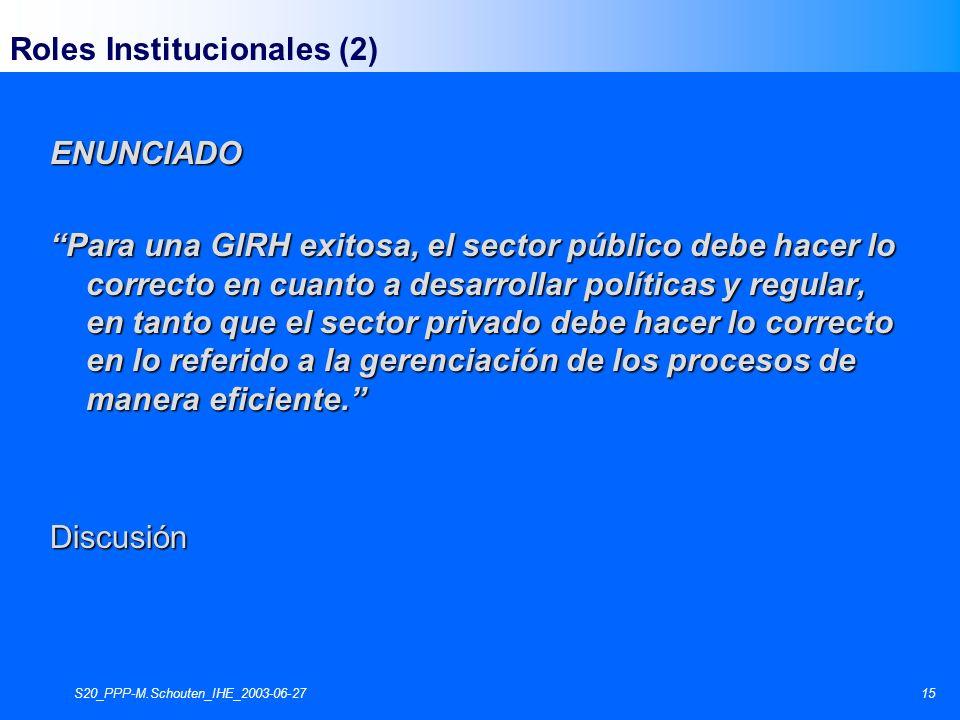 S20_PPP-M.Schouten_IHE_2003-06-2715 Roles Institucionales (2)ENUNCIADO Para una GIRH exitosa, el sector público debe hacer lo correcto en cuanto a desarrollar políticas y regular, en tanto que el sector privado debe hacer lo correcto en lo referido a la gerenciación de los procesos de manera eficiente.