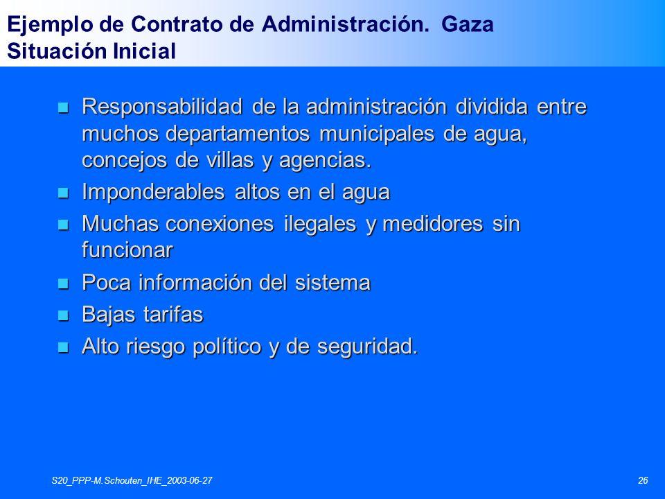 S20_PPP-M.Schouten_IHE_2003-06-2726 n Responsabilidad de la administración dividida entre muchos departamentos municipales de agua, concejos de villas y agencias.
